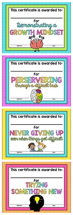 Growth Mindset Certificates *FREE* More