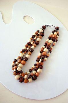 three strand earth tone chunky wooden bead necklace