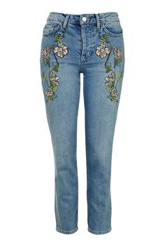 MOTO Embroidered Straight Jean