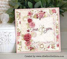 Multiple layered card using dies, flowers