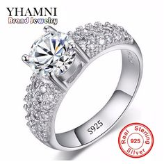 Promotion!!! Fine Jewelry Real Silver Rings for women Luxury 1 Carat CZ Diamant Engagement Wedding Jewelry Ring Wholesale AR022