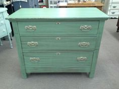 $139 - This vintage 3 drawer chest has been painted, distressed and finished with a tinted wax. The chest measures 40 inches across the front, 19 and a half inches deep and it stands 33 inches tall. Lots of great storage. It can be seen in Booth A8 at Main Street Antique Mall 7260 East Main St ( E of Power Rd ) Mesa 85207  480 9241122open 7 days 10 till 530 Cash or charge 30 day layaway also available