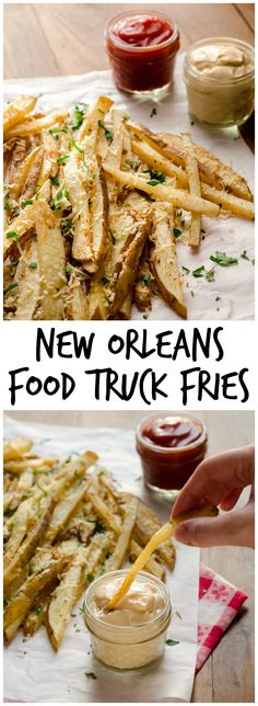 New Orleans Food Truck Fries Recipe - The Best New Orleans Recipes Cajun Recipes, Cooking Recipes, Haitian Recipes, Louisiana Recipes, Donut Recipes, Lobster Recipes, Vegetarian Recipes, Food Trucks, Good Food