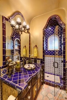 1000 images about decorating with talavera tiles on for Spanish bathroom design