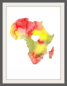 I adore this. >>> i love africa watercolor map print (8.5 x 11) $15