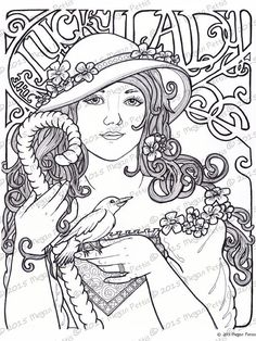 The Lucky Lady Adult Coloring Book Page Digital File Instant Download Print At Home Floral Bird Art Nouveau Woman
