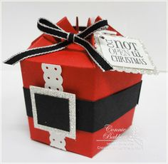 Santa Gift Box this is a die cut but could also duplicate this look on a take out container box!