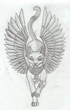 Bastet was the daughter of isis and osiris. Egyptian Goddess Tattoo, Egyptian Eye Tattoos, Egyptian Drawings, Egyptian Tattoo Sleeve, Egyptian Cats, Egyptian Symbols, Mayan Symbols, Viking Symbols, Viking Runes