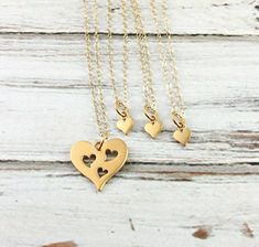 Gold Piece of My Heart Necklace- Three Hearts
