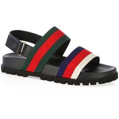 78d1d7fdd7b8 Gucci Rimini Leather Double Strap Sandals ( 520) ❤ liked on Polyvore  featuring men s fashion