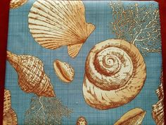 Coastal Tradewinds Sea Shells Fabric Tablecloth 60 x 84