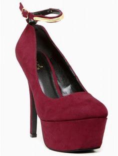 #Burgundy Ankle Strap #Pumps