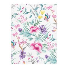 Wild flowers white fleece blanket - monogram gifts unique design style monogrammed diy cyo customize