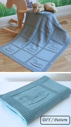 Knitting Pattern for Rocking Horse Baby Blanket - Easy blanket features rocking . Knitting Pattern for Rocking Horse Baby Blanket - Easy blanket features rocking horse motifs in knit and purl stitches. Knitted Baby Blankets, Baby Blanket Crochet, Crochet Baby, Baby Knitting Patterns, Baby Patterns, Pattern Sewing, Crochet Patterns, Easy Baby Blanket, Baby Scarf