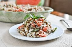 Watermelon Feta and Basil Quinoa via How Sweet it is