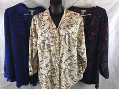 Lot of 3 Maggie Barnes For Catherines Button Down Blouses Size 1X Prints  #MaggieBarnes #Blouse