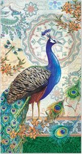 Punch Studio Guest Towel Napkins- #53665 Royal Peacock