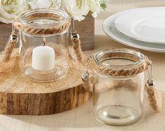 48 Rope Lantern Glass Tea Light Candle Holder Rustic Nautical Wedding Favor