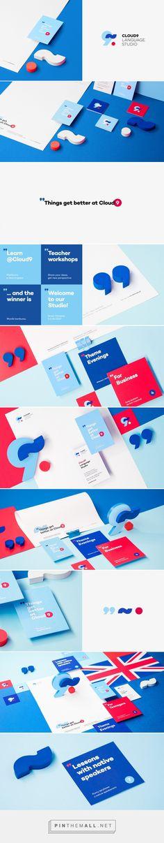 Cloud 9 Language Studio Branding and identity design Corporate Design, Brand Identity Design, Corporate Identity, Design Corporativo, Logo Design, Cover Design, Design Concepts, Web Inspiration, Graphic Design Inspiration