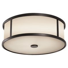 "The Satchmo Drum Flush Mount | Espresso Steel with Opal Etched Glass Shade Size: W 14"" x H 4 ⅞"""
