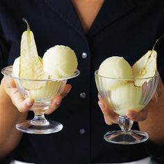Create a real show-stopper at your next dinner party with this pear sorbet with pear wafers recipe - it's amazingly healthy too! Pear Recipes, Summer Recipes, Free Recipes, Frozen Desserts, Healthy Desserts, Gelato, Frozen Tags, Deliciously Ella, Frozen Yoghurt