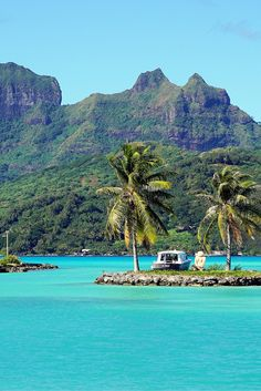 The view that greets visitors from the airport in Bora Bora, French Polynesia. Read the post for more postcards from paradise.