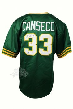 f03516ce ... JOSE CANSECO JERSEY GREEN A6180 JSA W563565 ...