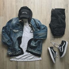 Men's and womens fashion, clothing, apparel - minimal streetwear / street style outfit 2017 Mode Streetwear, Streetwear Fashion, Streetwear Jeans, Streetwear Summer, Moda Skate, Dope Outfits, Fashion Outfits, Nike Outfits For Men, Vans Outfit Men