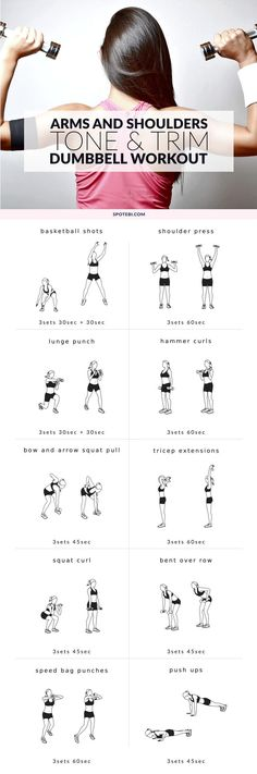 Get rid of arm fat and tone sleek muscles with the help of these dumbbell exercises. Sculpt, tone and firm your biceps, triceps and shoulders in no time! https://www.spotebi.com/workout-routines/upper-body-dumbbell-exercises-biceps-triceps-shoulders-workout/