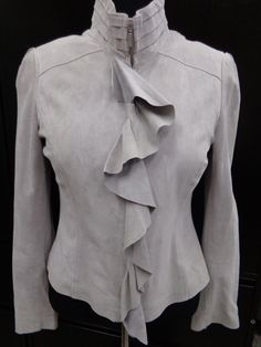 White House Black Market Light Gray Zip Up Leather Jacket W Ruffles Nwt Sz L Ebay