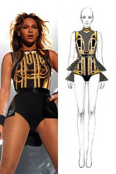 El vestuario de gira de Beyoncé Stage Outfits, Dance Outfits, Dance Dresses, Cute Outfits, Creative Costuming Designs, Beyonce Performance, Burning Man Outfits, Iconic Dresses, One Piece Outfit