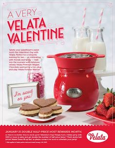 http://visionconqueror.blogspot.com/2013/01/a-velata-valentine.html    Suggested Items:  Rouge Velata Fondue Warmer $40  https://gustomio.velata.us/Velata/Buy/ProductDetails/10047  Velata Premium Belgian Dark Chocolate  $7  https://gustomio.velata.us/Velata/Buy/ProductDetails/10062  Velata Serving Plates Set  $25  https://gustomio.velata.us/Velata/Buy/ProductDetails/10872