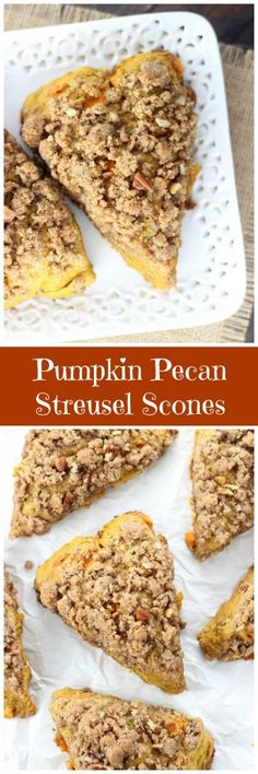 Pumpkin scones loaded with pecans, and topped generously with buttery brown sugar streusel!