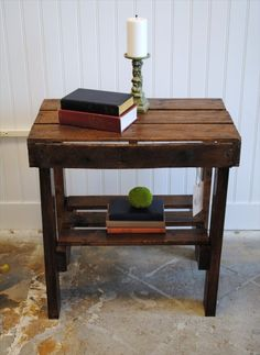 End Table Made from Pallets Wood- entire website to pallet furniture.