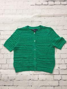 Gap Kids XS 4-5 Knit Emerald Green Cardigan Spring Weight Short Sleeve Sweater    eBay
