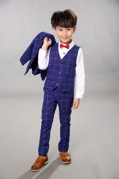41191d43738ad Boys BlackBlazer 5 pcs set Wedding Suits for Boy Formal Dress Suit Boys  wedding suit