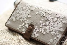 Handmade vintage rustic sweet lace leather long bifold wallet for wome | EverHandmade