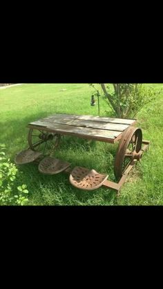 Neat use of old tractor seats for a table