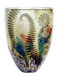 Jonathan Harris hand carved olive Eden Intrinsic fern vase