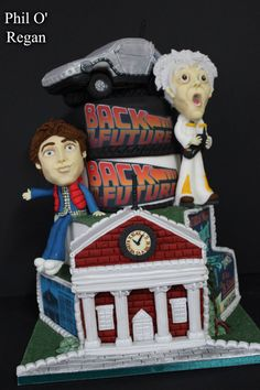 Back to the Future cake with handmade figures.