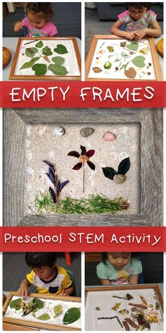 Empty Frames A STEM activity for home or your preschool classroom Collect natural materials and have children arrange keeping in mind shape size and color The perfect na. Preschool Rooms, Preschool Classroom, Preschool Art, Classroom Activities, In Kindergarten, Nature Based Preschool, Nature Activities, Preschool Activities, Preschool Programs