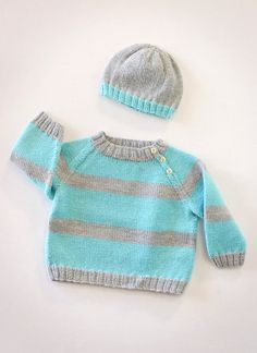 Once babies get going with new-found locomotion… they just don't stop! Knitting parents who are keeping up with babies on the move will appreciate this pullover and hat set with clean lines and straightforward construction. The raglan shaping includes buttons for easy on-and-off and bold stripes make for fun color combinations in Spud & Chloë …