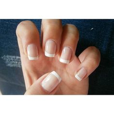 french manicure, unghie corte, look classico elegante ❤ liked on Polyvore featuring beauty products, nail care, nails, beauty, makeup, nail polish and unhas