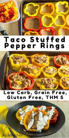 Taco Stuffed Pepper Rings are great! Dinner bakes on one baking sheet and they cook faster than big stuffed peppers or meatloaf. Low Carb, Grain Free, THM S