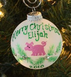 Handpainted Christmas Pig Personalized by FlutterbyConnections, $11.95