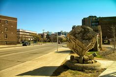 Carved Tyndall limestone cube for City.Block.Stop at U of W, Winnipeg MB, via Flickr.