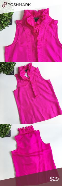 """✨NWT✨J CREW FACTORY Ruffled Silk Sleeveless Top NWT. Beautiful magenta color. Great piece to wear alone or with cardigan for fall. 100% silk. Chest: 17"""". Length: 24"""". Ask any questions before purchasing. J. Crew Tops"""