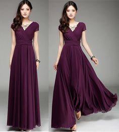 New Women Ladies Purple Long Maxi Formal evening Cocktail Party Plus Size Dress #VUVI #Maxi #Formal