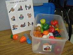 Teaching HOW TO PLAY. Box of related items (Doctor kit, doll kit, car kit) and PECs suggesting how student might use items in the kit. Visit the site to look at her ideas and her play boxes. http://theautismteacher.blogspot.com/ Can't pin from this site but it is a great place for inspiration.