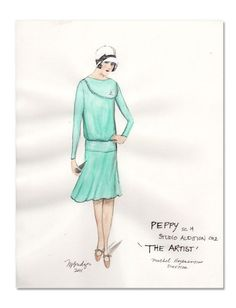 "A costume sketch by Oscar nominee Mark Bridges, for Bérénice Bejo's character Peppy Miller, in ""The Artist."" (Photo belongs to The Weinstein Company)"